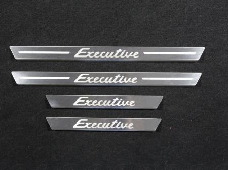TOYOTA LAND CRUISER 200 Executive 2016-Накладки на пороги с гибом (лист шлифованный надпись Executive) 4шт